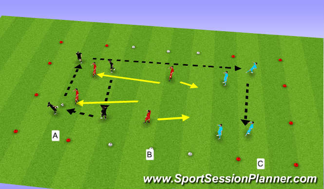 Football/Soccer Session Plan Drill (Colour): Switching Possesion