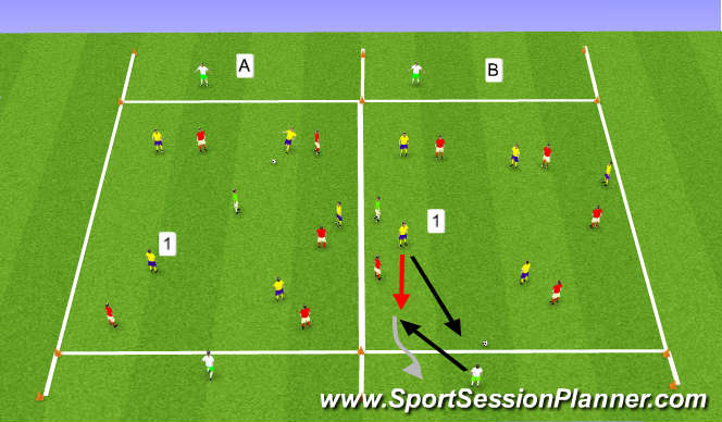 Football/Soccer Session Plan Drill (Colour): possession and dribbling