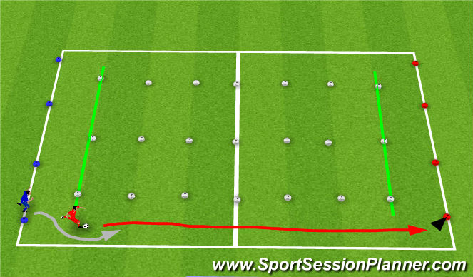 Football/Soccer Session Plan Drill (Colour): 1v1 persuit