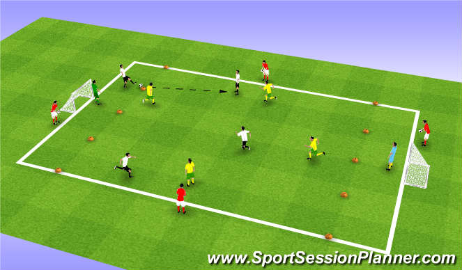 Football/Soccer Session Plan Drill (Colour): 5v5 Endurance SSG