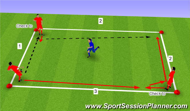 Football/Soccer Session Plan Drill (Colour): Simple Square Add Defender