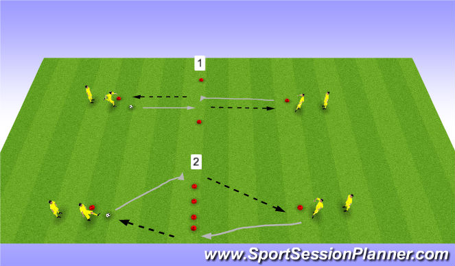 Football/Soccer Session Plan Drill (Colour): Technical dynamic traps