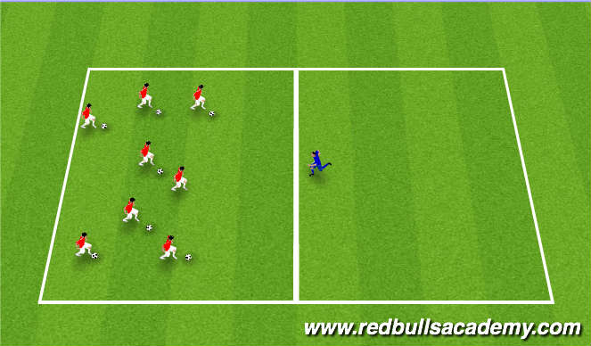 Football/Soccer Session Plan Drill (Colour): Fun river run game.( 1v1 review)