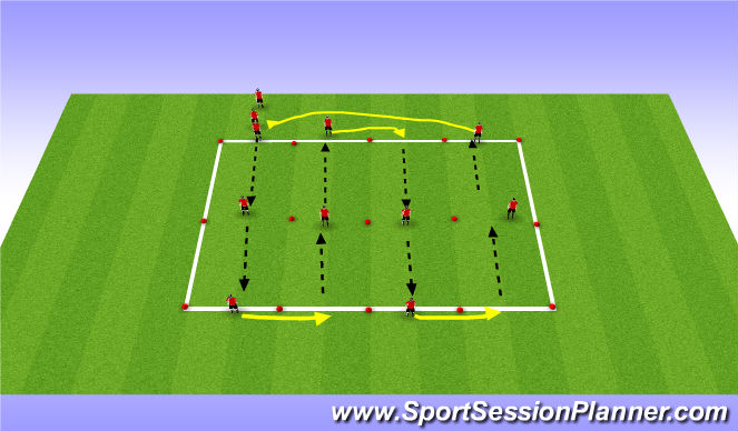 Football/Soccer Session Plan Drill (Colour): Passing Aerobic