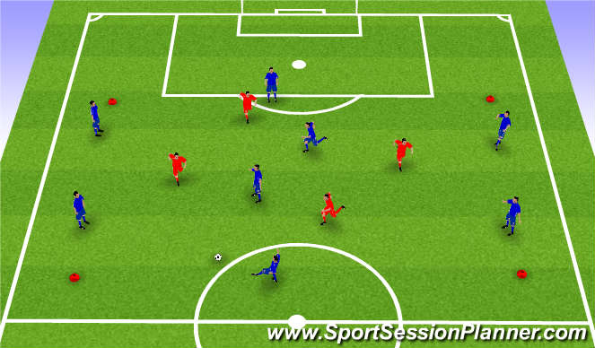 Football/Soccer Session Plan Drill (Colour): 6 v 4 + 2 possession