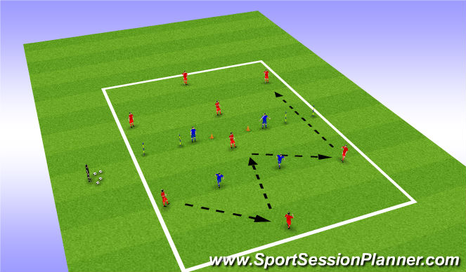 Football/Soccer Session Plan Drill (Colour): 4v2 Transition/ Identfiying Channels