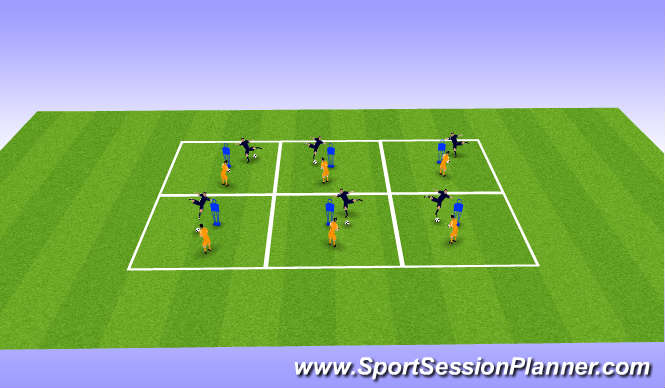 Football/Soccer Session Plan Drill (Colour): Technique around red man