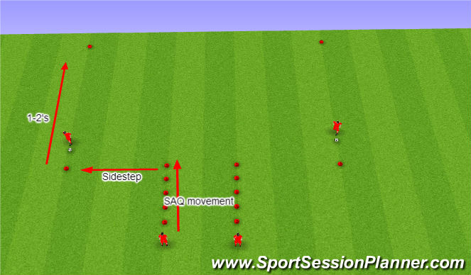 Football/Soccer Session Plan Drill (Colour): SAQ + passing warm up