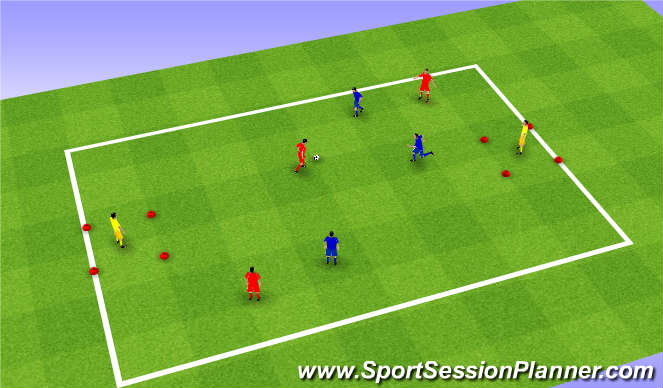 Football/Soccer Session Plan Drill (Colour): Passing and team play