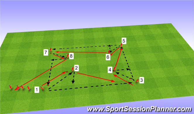 Football/Soccer Session Plan Drill (Colour): Outfield training passing 1