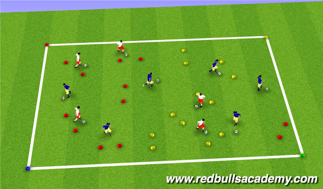Football/Soccer Session Plan Drill (Colour): Warm up( Space invasion)