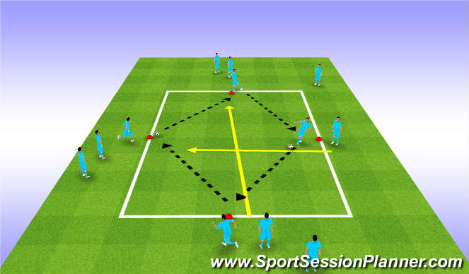 Football/Soccer Session Plan Drill (Colour): Defending and passing