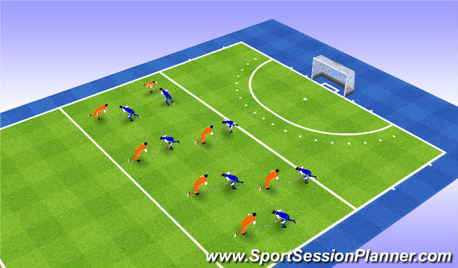 Hockey Session Plan Drill (Colour): Defender's reach