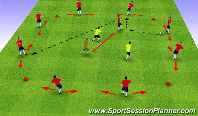Football/Soccer Session Plan Drill (Colour): Possession 8+1vs2