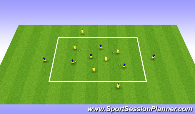 Football/Soccer Session Plan Drill (Colour): Warm-up dribbling