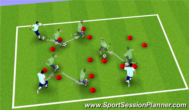 Football/Soccer Session Plan Drill (Colour): Dribble Drill