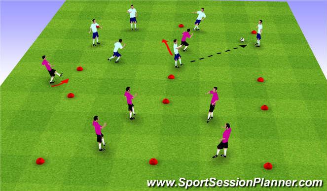 Football/Soccer Session Plan Drill (Colour): 6v0, 6v1, 6v2 Transition Game