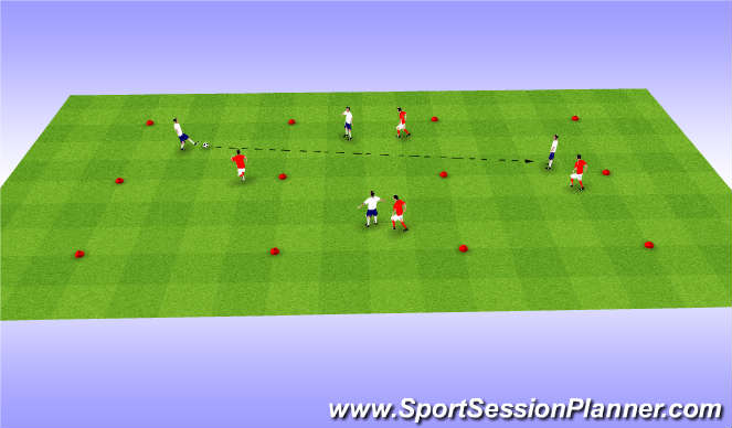 Football/Soccer Session Plan Drill (Colour): 4v4 SSG - Long Passing