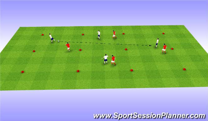 Football/Soccer Session Plan Drill (Colour): 4v4 SSG - Long Passing