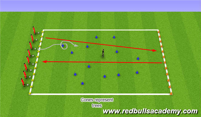 Football/Soccer Session Plan Drill (Colour): Dribble Around the scattered Trees
