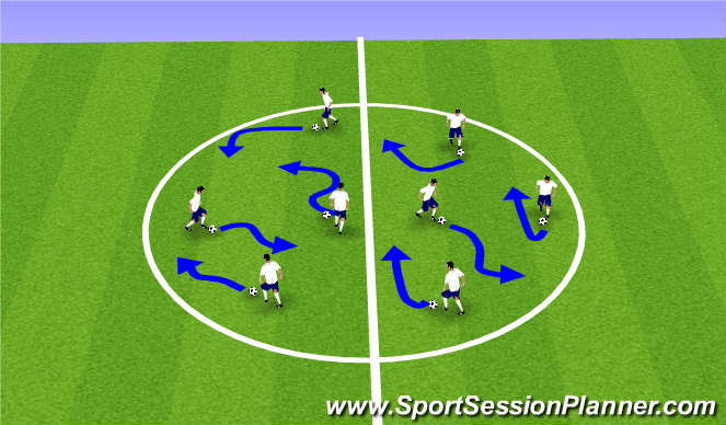Football/Soccer Session Plan Drill (Colour): Skills Warm Up