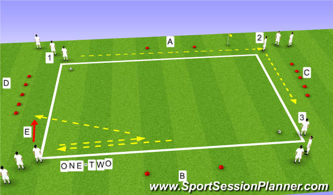Football/Soccer Session Plan Drill (Colour): Basic  passing drills