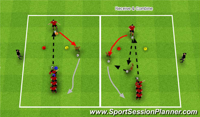 Football/Soccer Session Plan Drill (Colour): Receive and around
