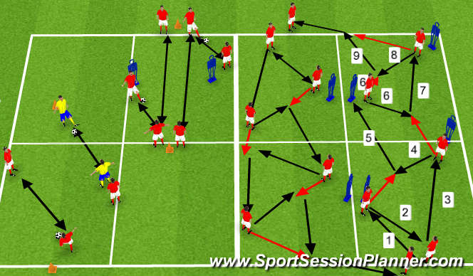 Football/Soccer Session Plan Drill (Colour): warm-up variety of quick passing drills