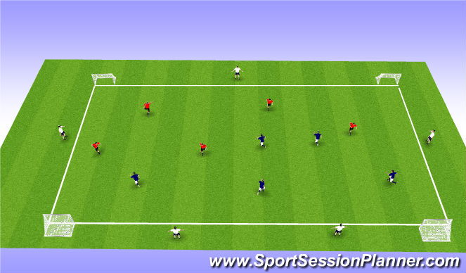 Football/Soccer Session Plan Drill (Colour): 4 Goal Conditioned Game