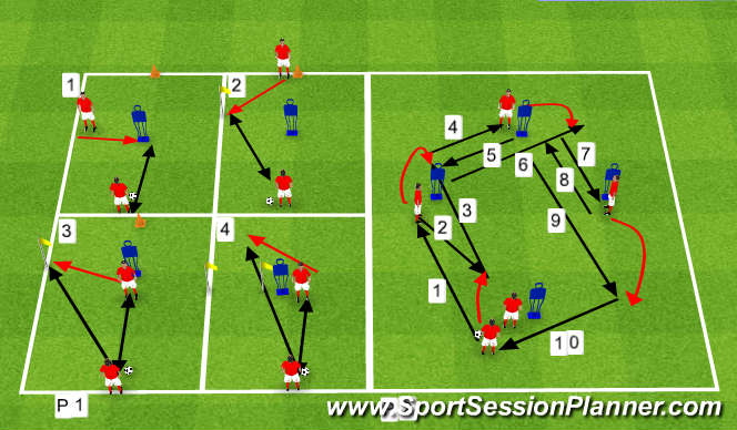 Football/Soccer Session Plan Drill (Colour): pass, set, move