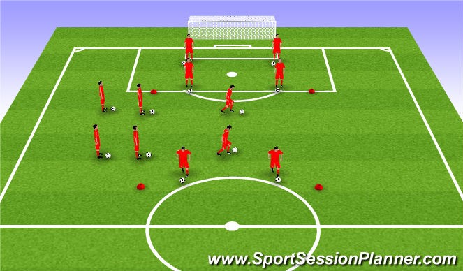 Football/Soccer Session Plan Drill (Colour): Ball Mastery (10 mins)