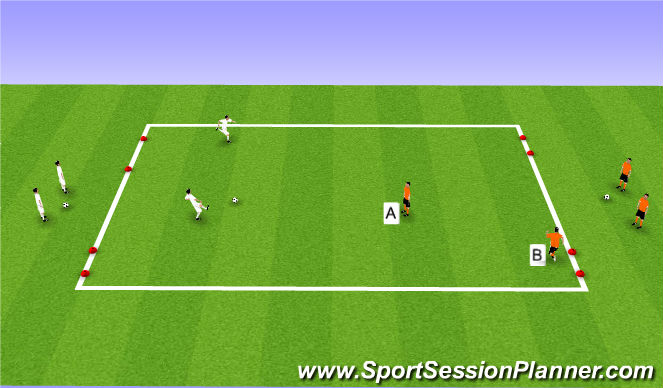 Football/Soccer Session Plan Drill (Colour): 2v1