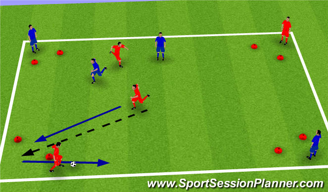 Football/Soccer Session Plan Drill (Colour): 2v2 to Diagonal Gates Continious