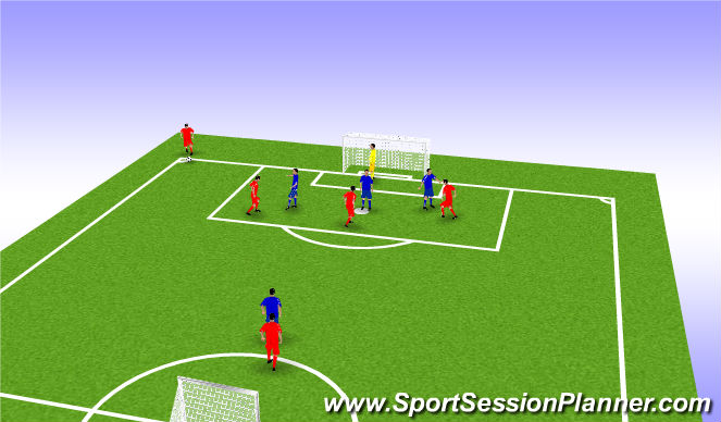 Football/Soccer Session Plan Drill (Colour): Defending in game situatuons