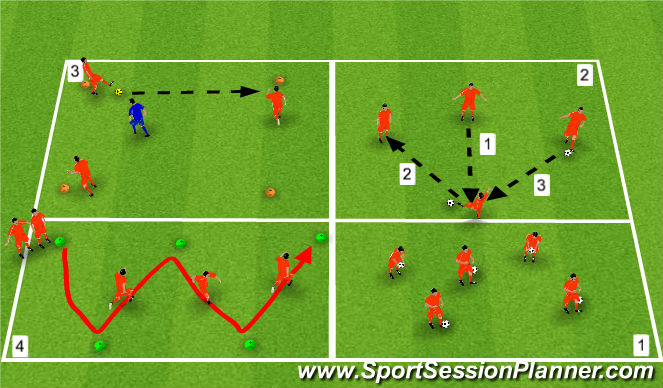 Football/Soccer Session Plan Drill (Colour): Warm up/fitness