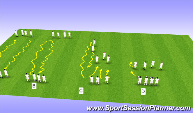 Football/Soccer Session Plan Drill (Colour): Warm-up for defending