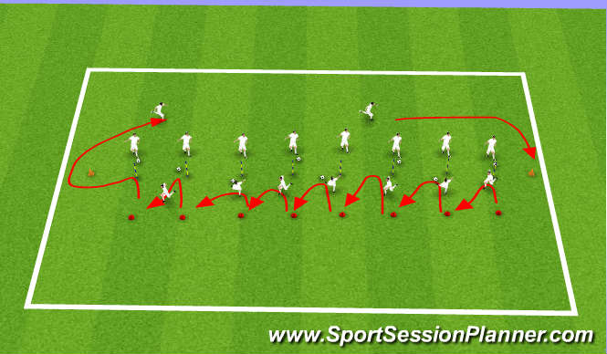 Football/Soccer Session Plan Drill (Colour): pass and movement around poles