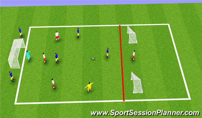 Football/Soccer Session Plan Drill (Colour): Block 2 - w/ bounce players