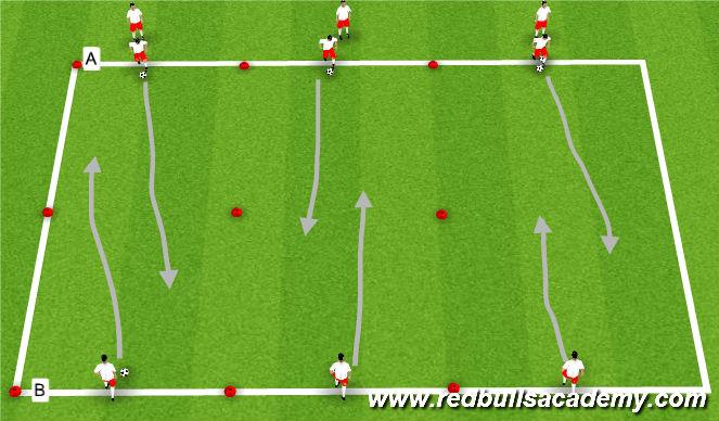 Football/Soccer Session Plan Drill (Colour): Dribbling Main Theme