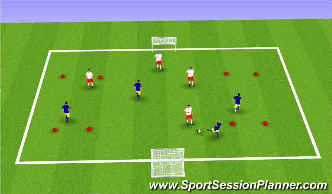 Football/Soccer Session Plan Drill (Colour): 4v4 game with gates