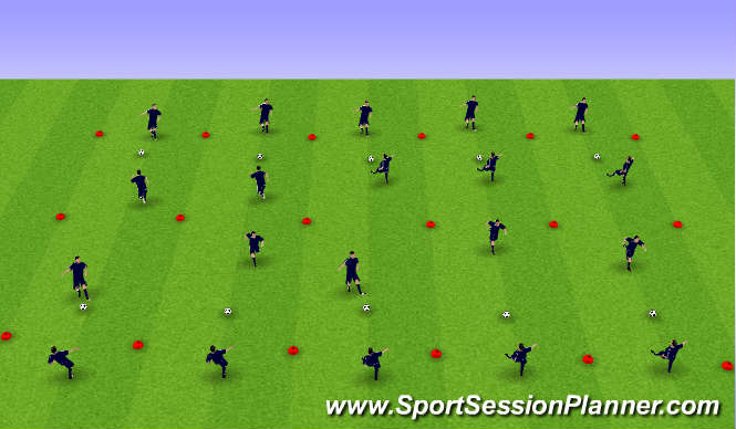 Football/Soccer Session Plan Drill (Colour): warm up between 2 outside players