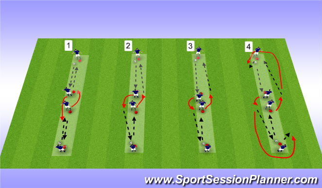 Football/Soccer Session Plan Drill (Colour): Pass & Rec Prog