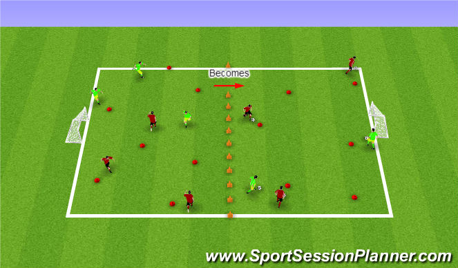Football/Soccer Session Plan Drill (Colour): Tornadoes and Volcanoes