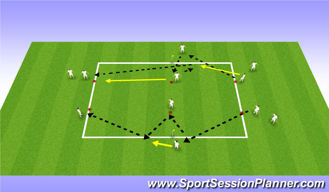 Football/Soccer Session Plan Drill (Colour): Passing and Reciving