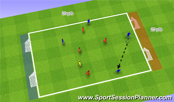 Football/Soccer Session Plan Drill (Colour): Receiving and turning - SSG