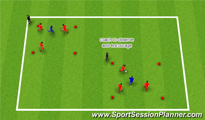 Football/Soccer Session Plan Drill (Colour): 3v1 Passing and Possession
