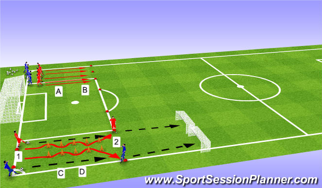 Football/Soccer Session Plan Drill (Colour): W-up 2: sprinttraining met en zonder bal