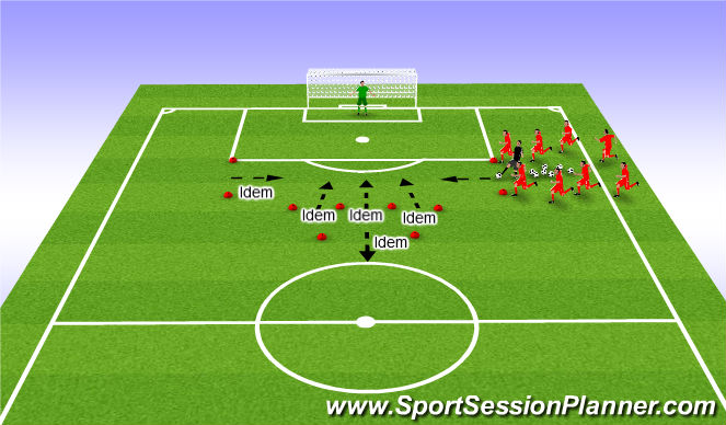 Football/Soccer Session Plan Drill (Colour): Duel 1:1: afronden (en tijdsdruk)