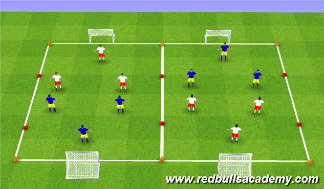 Football/Soccer Session Plan Drill (Colour): Free Play (3v3)