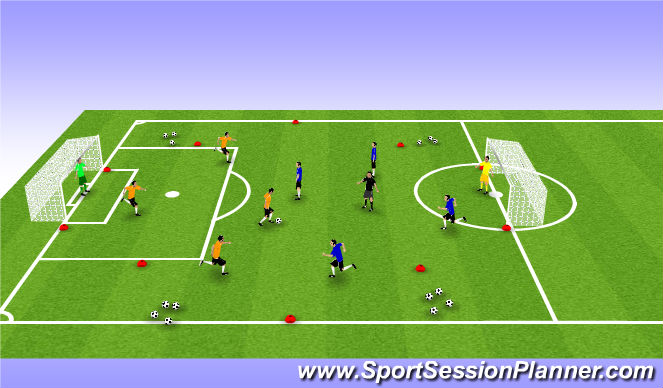 Football/Soccer Session Plan Drill (Colour): 4v4 + 1 Conditioned Match